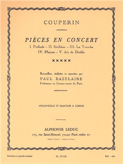 François Couperin: Concert Pieces for Cello and String Quartet, collected, realised and annotated by Paul Bazelaire Books | Cello