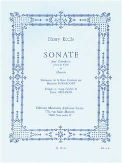 Henry Eccles: Sonate (Double Bass/Harpsichord) Books | Double Bass, Harpsichord Accompaniment