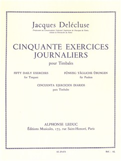 Jacques Delécluse: Cinquante Exercices Journaliers (Timpani) Livre | Percussion