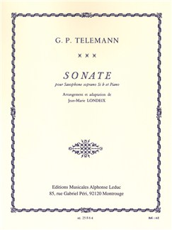 G. P. Telemann: Sonata For Soprano Saxophone And Piano (Londeix) Books | Soprano Saxophone, Piano Accompaniment