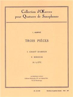 Isaac Manuel Francisco Albéniz: 3 Pièces (Saxophones 4) Livre | Saxophone(Quatuor)
