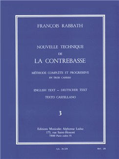 François Rabbath - Nouvelle Technique De La Contrebasse , Vol. 3 Books | Double Bass, Study Guide