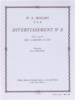 Wolfgang Amadeus Mozart: Divertissement No.2 KV439b (3 Clarinets) (Score/Parts) (Poulteau) Books | Clarinet (Trio)