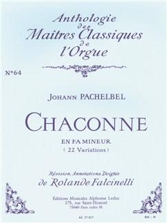 Johann Pachelbel: Chaconne En Fa Mineur (22 Variations) No. 64 Books | Organ