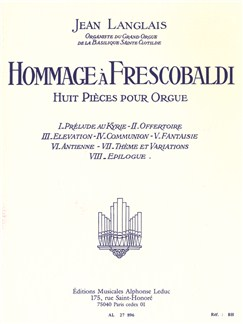 Jean Langlais: Hommage À Frescobaldi (Huit Pièces Pour Orgue) Books | Organ