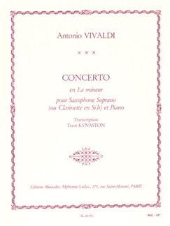 Antonio Vivaldi: Concerto FVII/5 RV461 In A Minor  (B Flat Saxophone) Books | Soprano or Tenor Saxophone