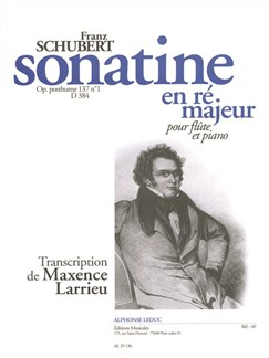 Franz Schubert: Sonatine In D For Flute And Piano D384 (Larrieu) Books | Flute, Piano Accompaniment