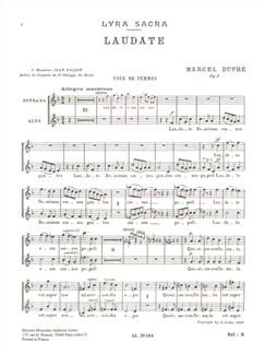 Marcel Dupré: Quatre Motets Op.9 No.4  - Laudate (SA Chorus Parts) Books | 2-Part Choir
