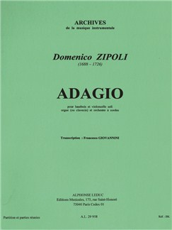 Domenico Zipoli: Adagio (Oboe/Cello/Organ or Harpsichord/String Orchestra) (Score) Books | Orchestra, Oboe, Cello, Organ Accompaniment, Harpsichord Accompaniment, String Orchestra