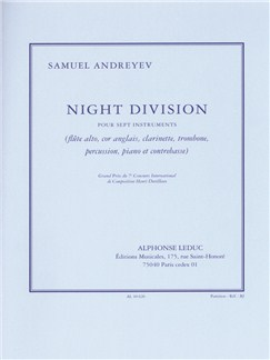 Andreyev: Night division pour 7 instruments (flûte alto, cor anglais, clarinette, trombone, percussion, piano et contrebasse) partition Books | Ensemble