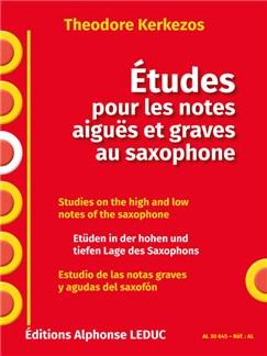 Theodore Kerkezos: Études Pour Les Notes Aiguës Et Graves Au Saxophone Libro | Saxofón