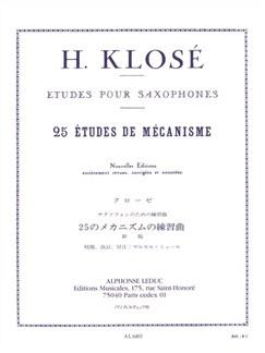 Hyacinthe Klosé - Vingt-Cinq Études de mécanismes pour saxophones Livre | Saxophone