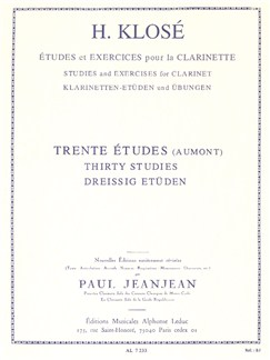 Hyacinthe Klosé: Studies and Exercises for Clarinet (30 Studies) with revisions by Paul Jeanjean Books | Clarinet