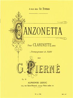 Gabriel Pierné: Canzonetta Op.19 (Clarinet/Piano) Books | Clarinet, Piano Accompaniment