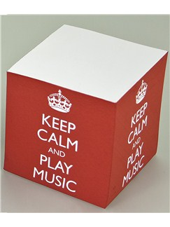 Keep Calm And Play Music - Memo Cube (Red)  |