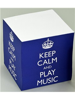 Keep Calm And Play Music - Memo Cube (Blue)  |