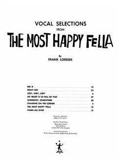 Frank Loesser: The Most Happy Fella - Vocal Selections Buch | Gesang, Klavierbegleitung