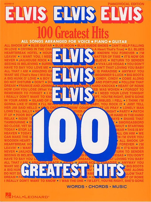 Elvis Elvis Elvis: 100 Greatest Hits - Piano, Vocal & Guitar Sheet ...