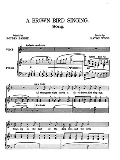 Haydn Wood: A Brown Bird Singing (In F) Books | Voice, Piano Accompaniment