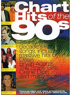 Chart Hits Of The 90s Books   Piano and Voice, with Guitar chord boxes