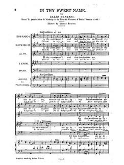L. Bertani: In Thy Sweet Name Buch   Sopran, SATB (Gemischter Chor)