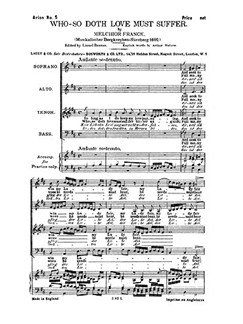Franck, M Who So Doth Love Must Suffer Satb Books | SATB