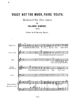 Gibbons, O Trust Not Too Much Faire Youth Ssatb Buch | SATB (Gemischter Chor)