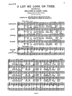 Lassus, R O Let Me Look On Thee Satb Books | SATB