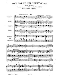 Wilbye, J Love Not Me For Comely Grace Satb Books | SATB