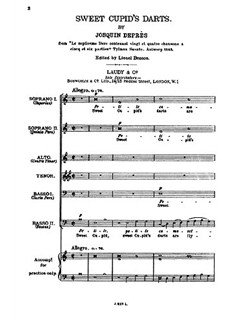 Josquin Depres Sweet Cupid's Darts Ssatbb Buch | SATB (Gemischter Chor)