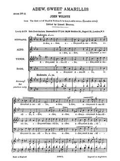 Wilbye, J Adew Sweet Amarillis Satb Buch | SATB (Gemischter Chor)
