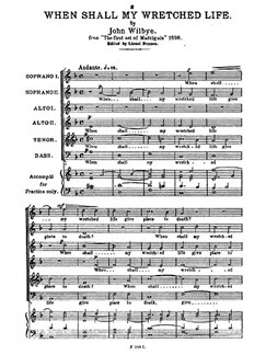 Wilbye, J When Shall My Wretched Life Ssaatb Buch | SATB (Gemischter Chor)