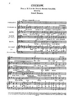 Anon: Cockow The Sweet Spring Books | Soprano, Soprano, Alto, Tenor and Bass