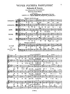 Orlando Lassus: Super Flumina Babylonis Buch | SATB (Gemischter Chor)