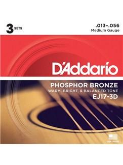 D'Addario: EJ17-3D Phosphor Bronze Medium Acousic Guitar String Sets - 3 Pack  | Acoustic Guitar