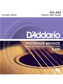 D'Addario: EJ26 Custom Light 11-52 Acoustic Guitar String Set (Triple Pack)  | Acoustic Guitar