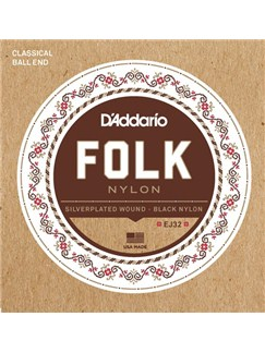 D'Addario: EJ32 Folk Nylon Guitar Strings, Ball End, Silver Wound/Black Nylon Trebles  | Guitar