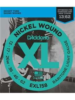 D'Addario: EXL158 Baritone Light XL Nickel Round Wound 13-62 Electric Guitar Strings  | Electric Guitar