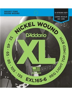 D'Addario: EXL165-6 Nickel Wound 6-String Bass Guitar Strings - Long Scale (.032-.135)  | Guitar