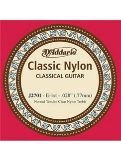D'Addario: J2701 Student Nylon Classical Guitar Single String, Normal Tension, First String  | Classical Guitar