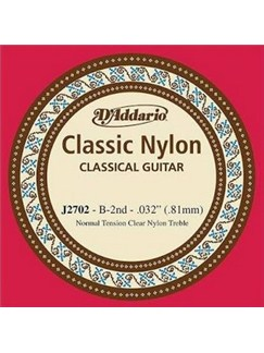 D'Addario: J2702 Student Nylon Classical Guitar Single String, Normal Tension, Second String  | Classical Guitar