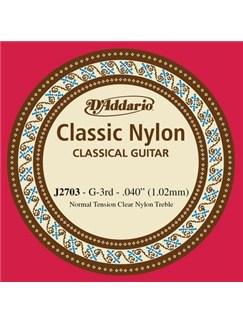 D'Addario: J2703 Student Nylon Classical Guitar Single String, Normal Tension, Third String  | Classical Guitar