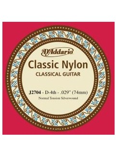 D'Addario: J2704 Student Nylon Classical Guitar Single String, Normal Tension, Fourth String  | Classical Guitar