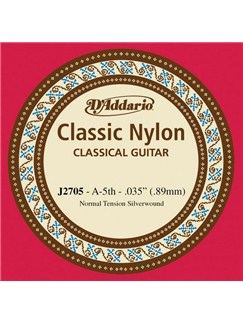 D'Addario: J2705 Student Nylon Classical Guitar Single String, Normal Tension, Fifth String  | Classical Guitar