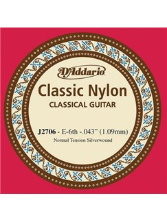 D'Addario: J2706 Student Nylon Classical Guitar Single String, Normal Tension, Sixth String  | Classical Guitar