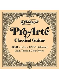D'Addario: J4301 Pro-Arte Nylon Classical Guitar Single String, Light Tension, First String  | Classical Guitar