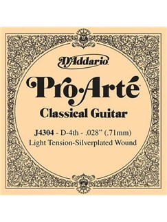 D'Addario: J4304 Pro-Arte Nylon Classical Guitar Single String, Light Tension, Fourth String  | Classical Guitar