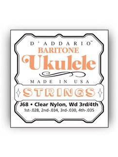 D'addario: J68 Baritone Ukulele String Set - Clear Nylon  | Ukulele