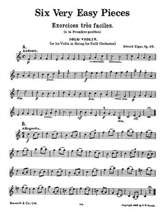 Edward Elgar: Six Very Easy Pieces Op.22 (String Parts Only) Books | String Instruments