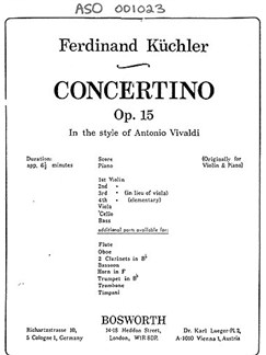 Ferdinand Kuchler: Concertino In D Op.15 'In Style Of Vivaldi' Books | Orchestra